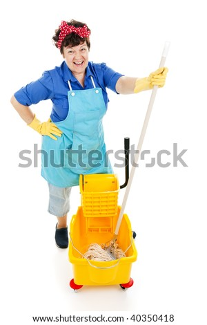 Friendly, happy maid gets ready to mop a floor.  Isolated on white. - stock photo