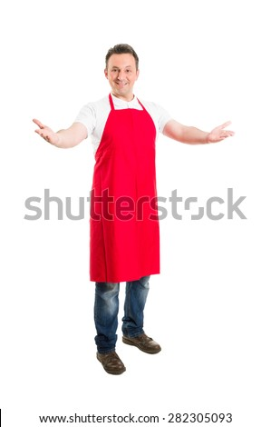 Friendly hypermarket employee with arms wide open inviting people to opening or inauguration - stock photo
