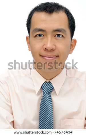 Friendly mature business man of Asian looking at you, half length closeup portrait on white background. - stock photo
