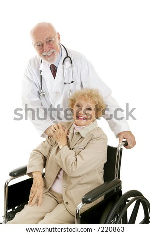 Friendly mature doctor and his lovely senior patient.  Isolated on white. - stock photo