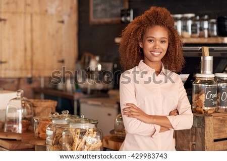 Friendly owner of a great cafe - stock photo