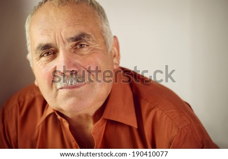 Friendly senior man with a moustache leaning forwards as he looks at the camera with a quiet smile, copyspace on a grey background - stock photo
