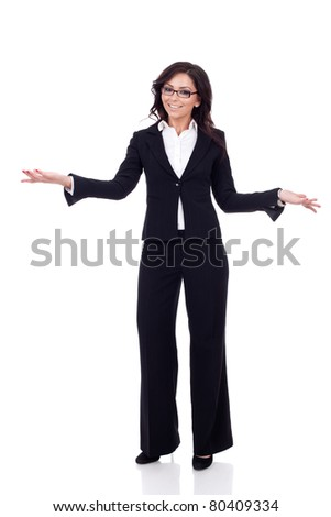 Friendly smiling business woman welcoming. Isolated over white background - stock photo