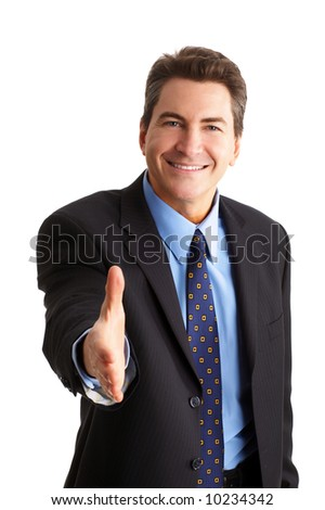 Friendly smiling businessman. Isolated over white background - stock photo