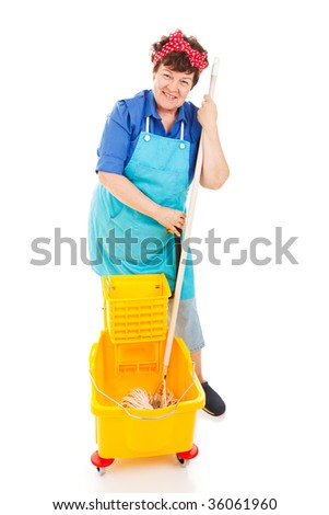 Friendly, smiling cleaning lady with her mop and bucket.  Full body isolated. - stock photo