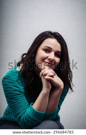 friendly smiling young woman portrait - stock photo