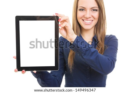 Friendly smiling young woman presenting your product - stock photo