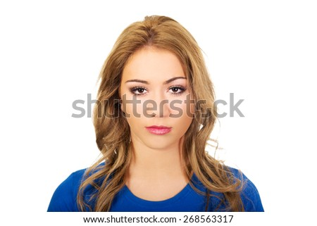 Friendly smiling young woman with make up. - stock photo