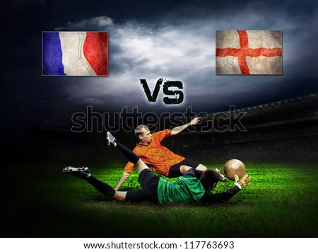 Friendly soccer match between France and England - stock photo