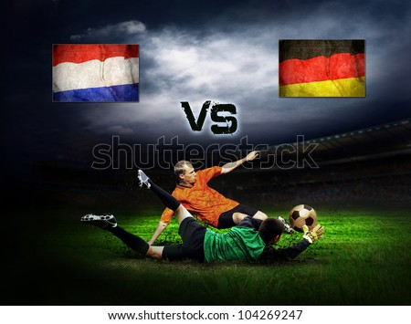 Friendly soccer match between Germany and Holland - stock photo