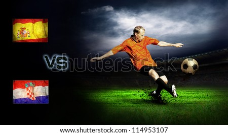 Friendly soccer match between Spain and Croatia - stock photo