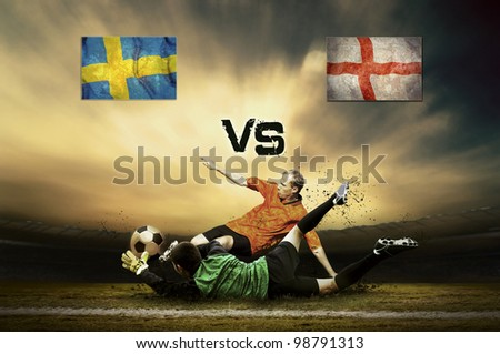 Friendly soccer match between Sweden and England - stock photo