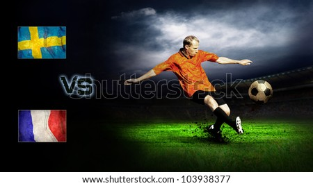 Friendly soccer match between Sweeden and France - stock photo