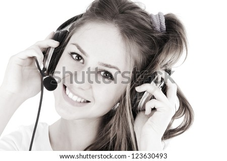 Friendly telephone operator, isolated over white background - stock photo