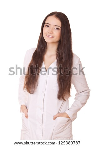 friendly woman doctor isolated over white background - stock photo