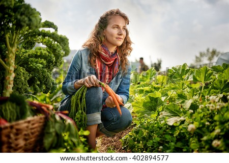 Friendly woman harvesting fresh vegetables from the rooftop greenhouse garden - stock photo