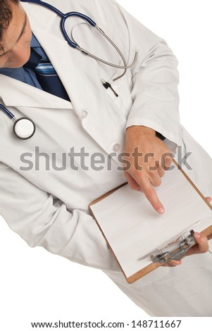 Friendly Young Doctor Holding and Pointing a Notepad on Isolated White Background - stock photo