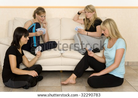 Friends ar play a game - stock photo