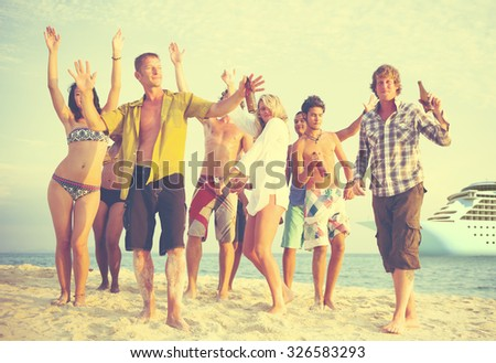 Friends Beach Party Dancing Cheerful Concept - stock photo