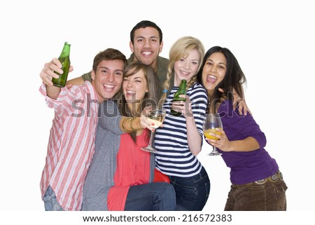 Friends drinking alcohol - stock photo