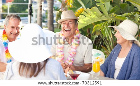 Friends  drinking  together under the sun - stock photo