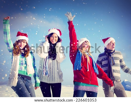 Friends Enjoyment Winter Holiday Christmas Concept - stock photo