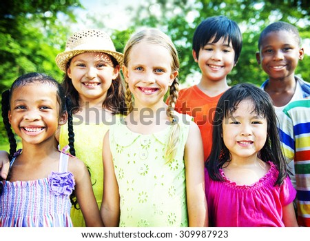 Friends Friendship Happiness Children Child Childhood  Concept - stock photo