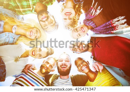 Friends Friendship Leisure Vacation Togetherness Fun Concept - stock photo