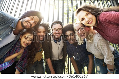 Friends Friendship Walking Park Togetherness Fun Concept - stock photo