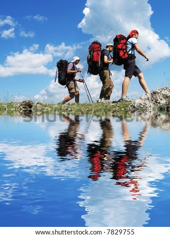 Friends going in hike - stock photo