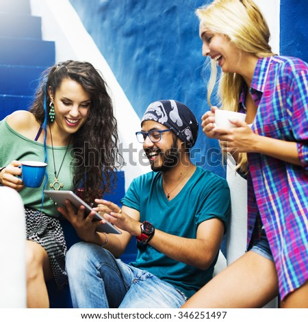Friends Hanging Out Stair Case Concept - stock photo