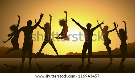 friends having fun - stock photo