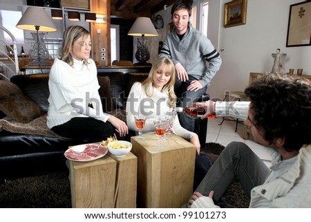 Friends having in formal dinner party - stock photo