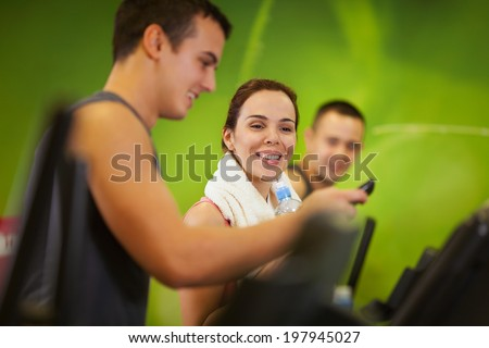 Friends in a gym - stock photo