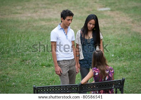 friends in the park - stock photo