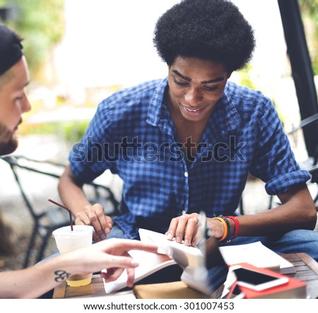 Friends Men Discussion Brainstorming Reading Concept - stock photo