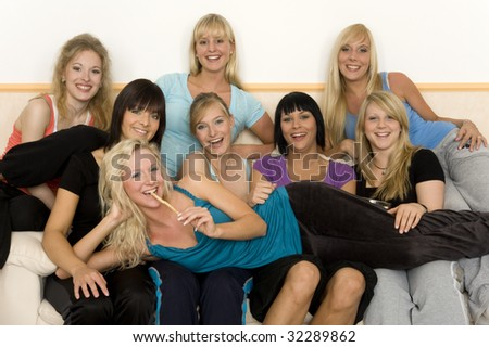 Friends on a couch - stock photo