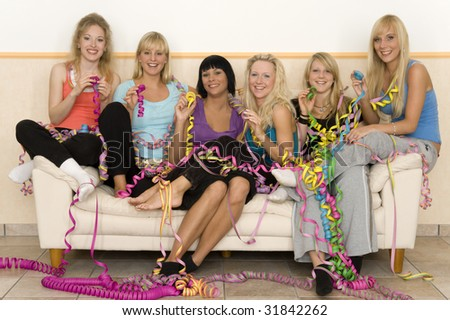 Friends on couch - stock photo