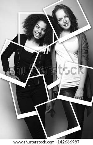 Friends posing - stock photo