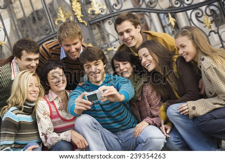 Friends Posing for Photograph - stock photo