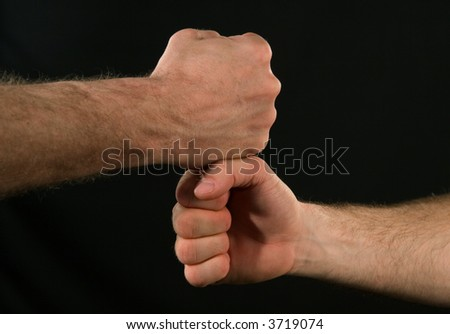 Friends shaking hands - stock photo