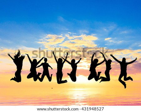 Friends Silhouettes Dance the Night Away  - stock photo