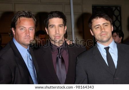 Friends star MATTHEW PERRY (left), DAVID SCHWIMMER  & MATT LEBLANC at the 28th Annual People's Choice Awards in Pasadena. 13JAN2002.  Paul Smith/Featureflash - stock photo