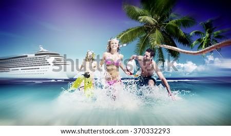 Friends Summer Beach Happiness Beach Ball Playing Concept - stock photo