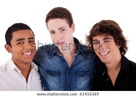friends: three young man of different colors,looking to camera and smiling, isolated on white, studio shot - stock photo