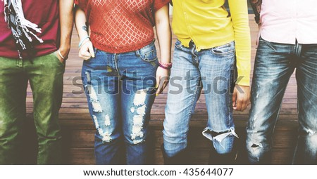 Friends Togetherness Friendship Happy Enjoy Concept - stock photo