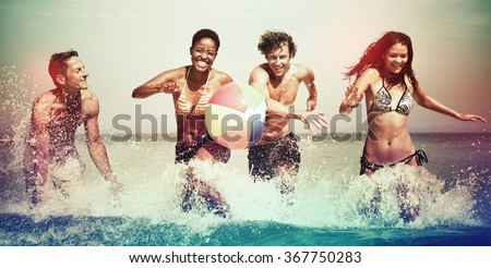 Friends Vacation Beach Carefree Relax Concept - stock photo