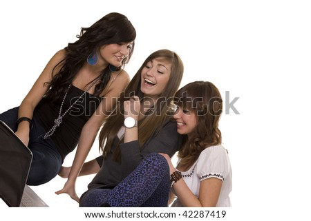 Friends working happily together - stock photo