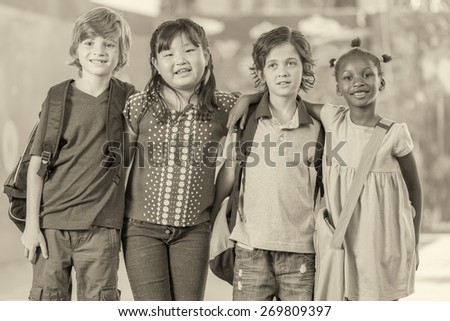 Friendship at primary school. Happy children. - stock photo