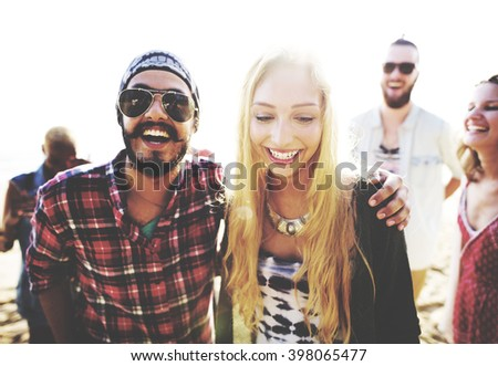 Friendship Bonding Relaxation Summer Beach Happiness Concept - stock photo